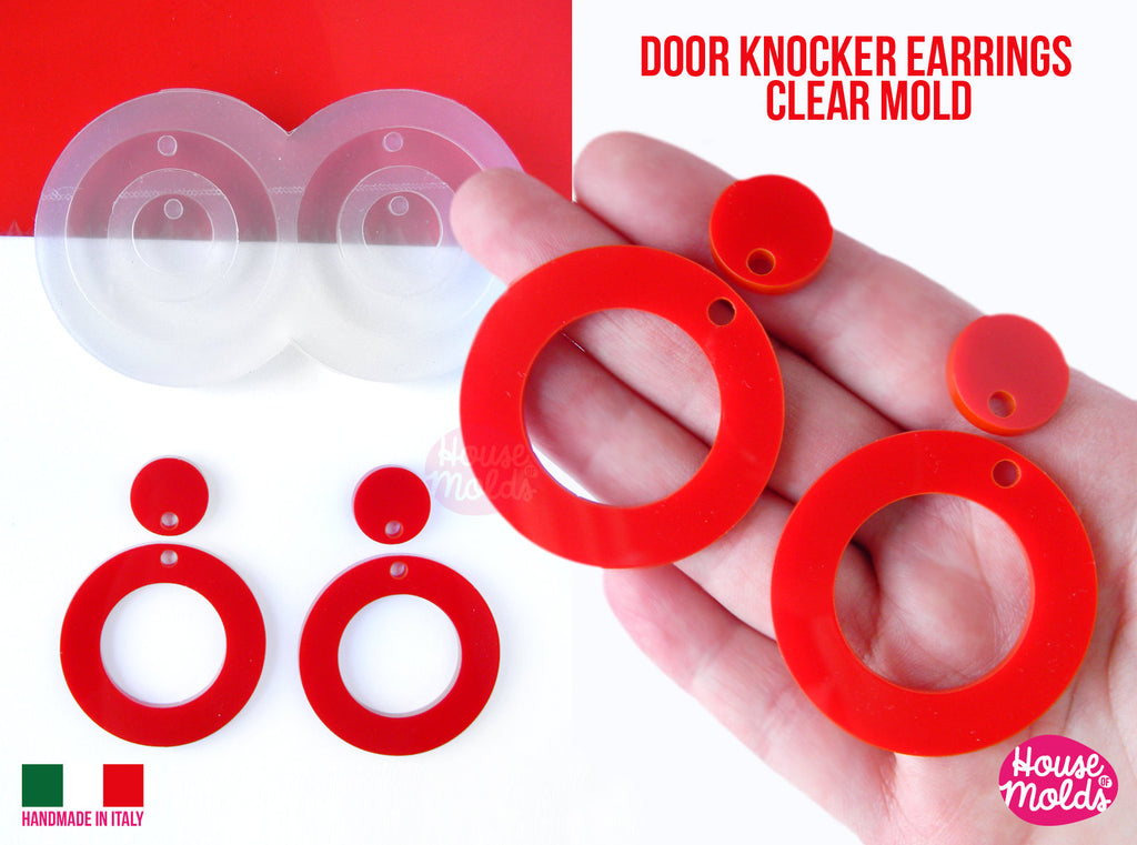 Door Knocker Round Circles earrings Clear Mold ,Premade Holes  tot 4 cavity, easy to use Transparent Mold ,  super shiny - house of molds