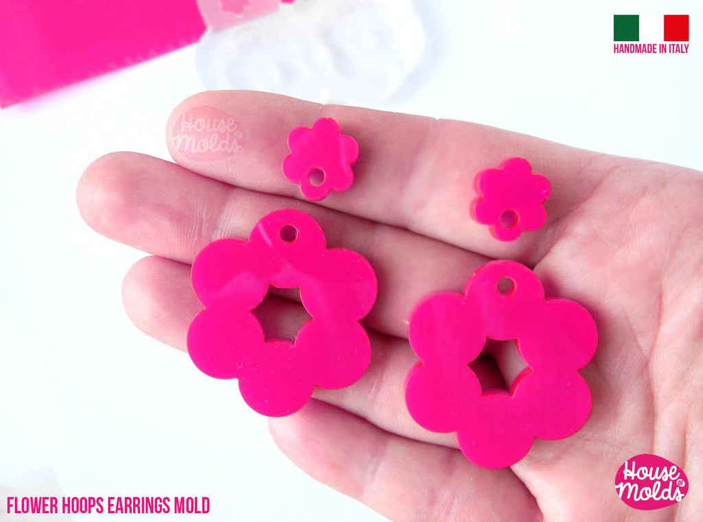 Flower Hoops Dangle earrings Clear Mold ,Premade Holes ,  4 cavites, easy to use Transparent Mold, super shiny - house of molds