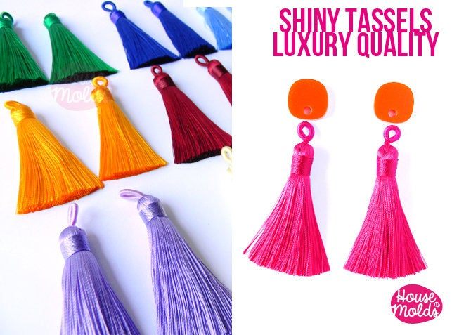 Luxury Shiny Silk Tassels - 65 mm long- 12 Colours to choose-perfect for earrings-necklace decorations making -soft and light poly silk