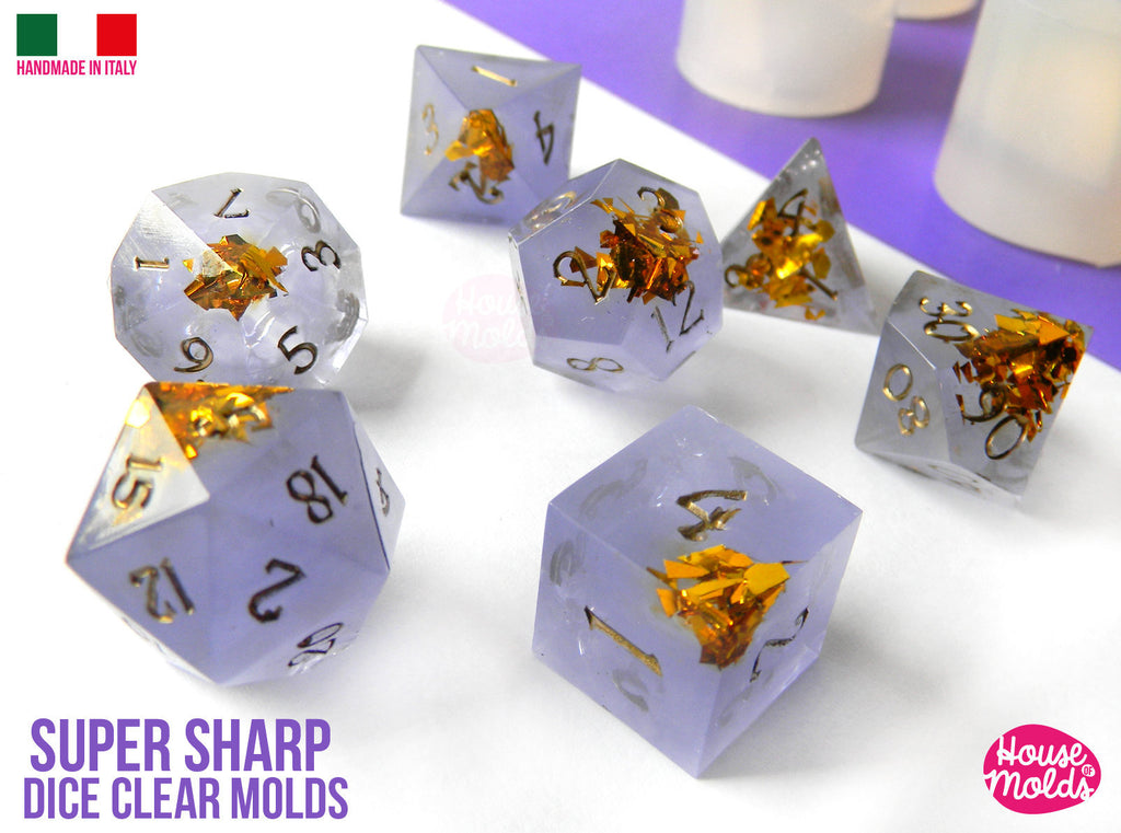 Super Sharp Gamer Dice Set of 7 Clear Silicone Molds - HOUSE OF MOLDS- Role Play Super Sharp edges dice , all sides with numbers engraved