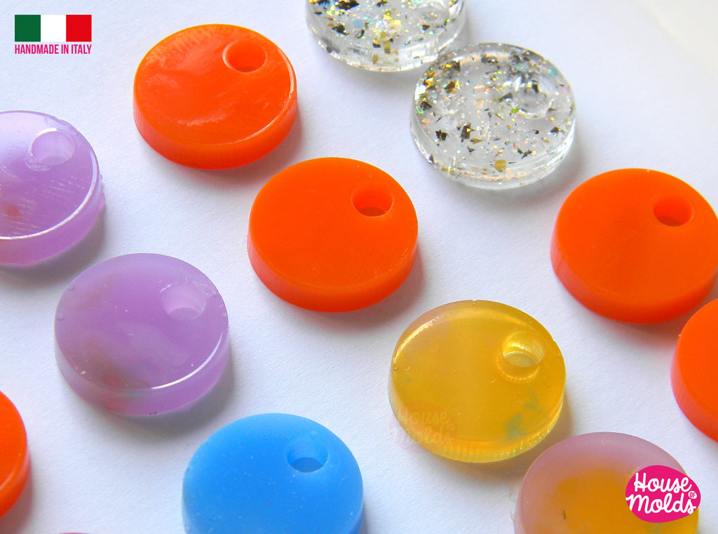 Round Studs earrings Clear Mold , 15 mm diameter Premade Holes , 16 cavities, very easy to use  super shiny - house of molds