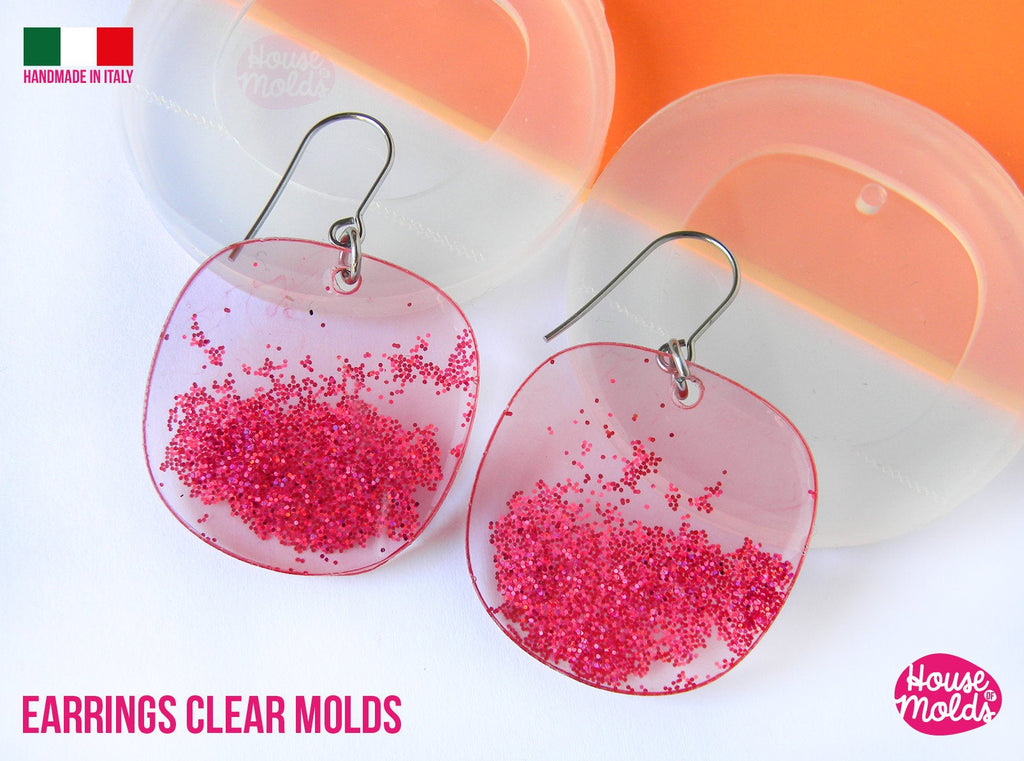 2 Flat Stones earrings Clear Molds , Premade Holes on top , measurements 33 x 34 mm thickness 2 mm , easy and  super shiny - house of molds