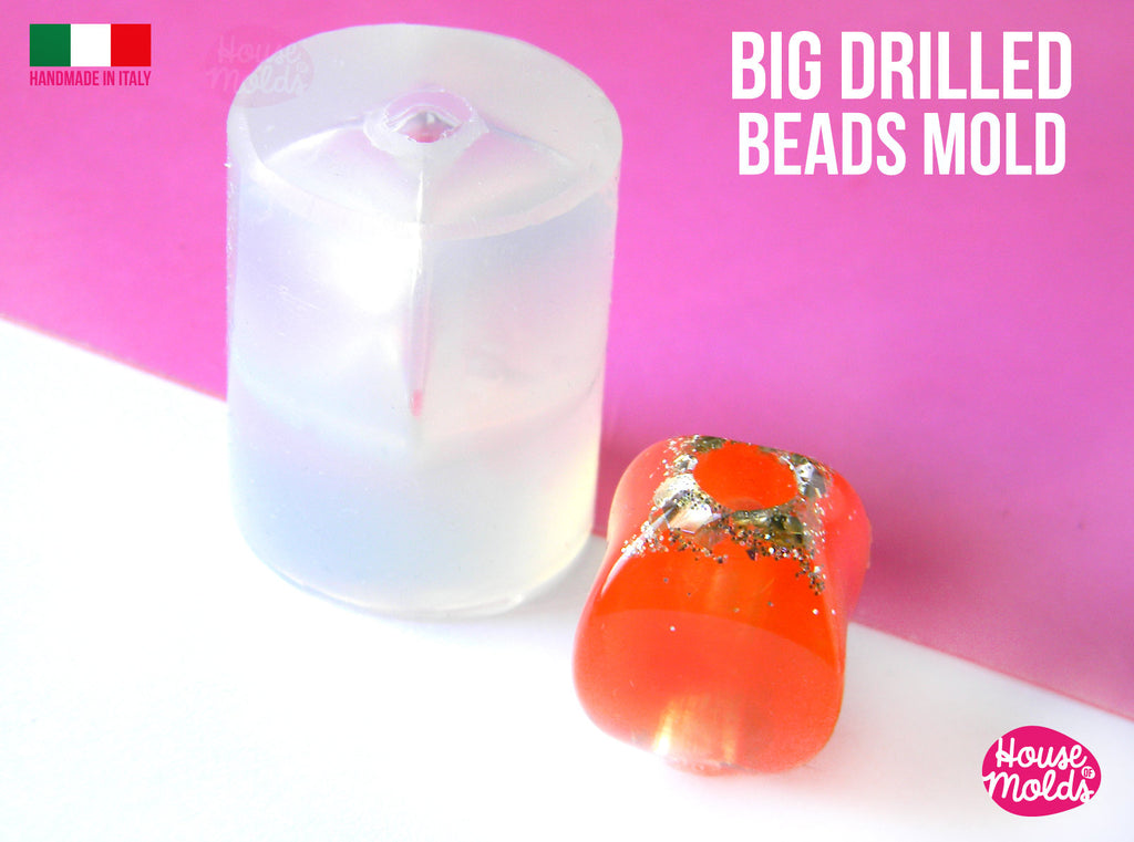 Twisted Squared Big Drilled Bead Clear Mold ,measurements 19 mm x 15 mm inner hole 6 mm diameter-  super shiny Special House of mold design