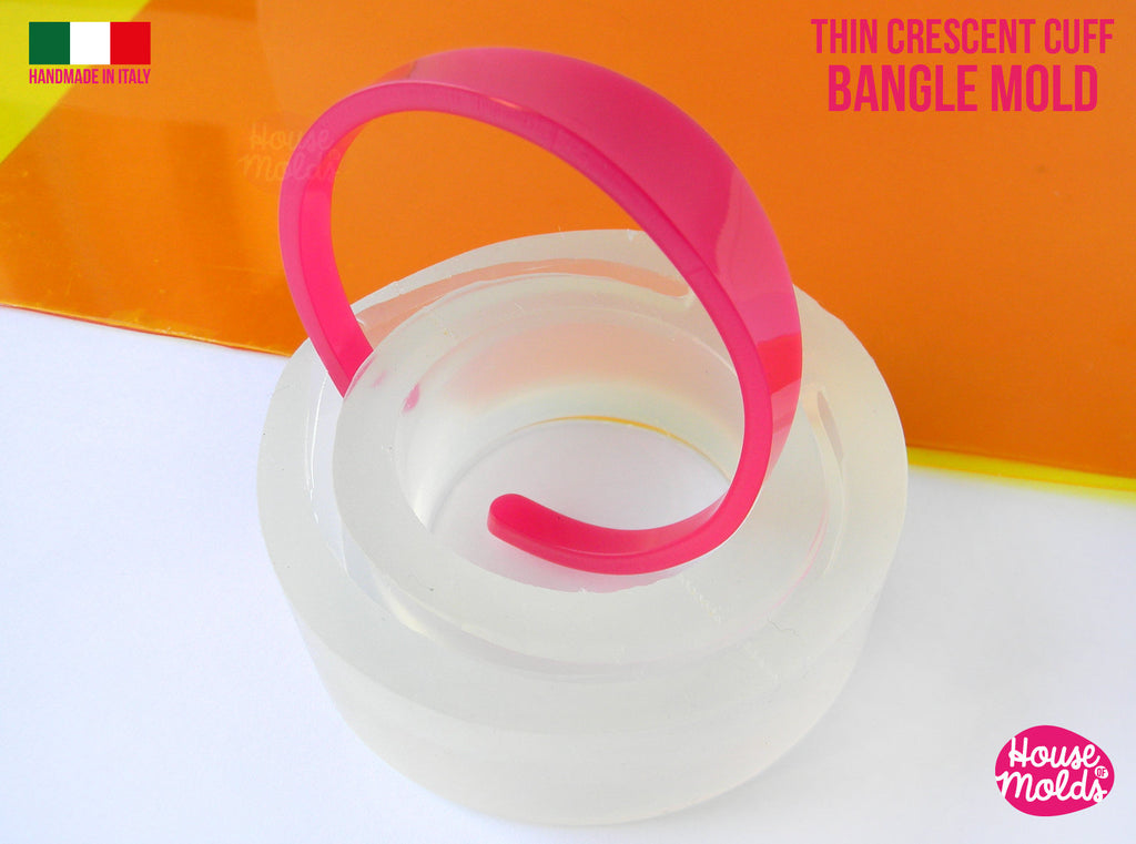 Crescent Thin Cuff Bangle Clear Mold , 56 mm diameter , resin bangle mold,super shiny results - house of molds special  design