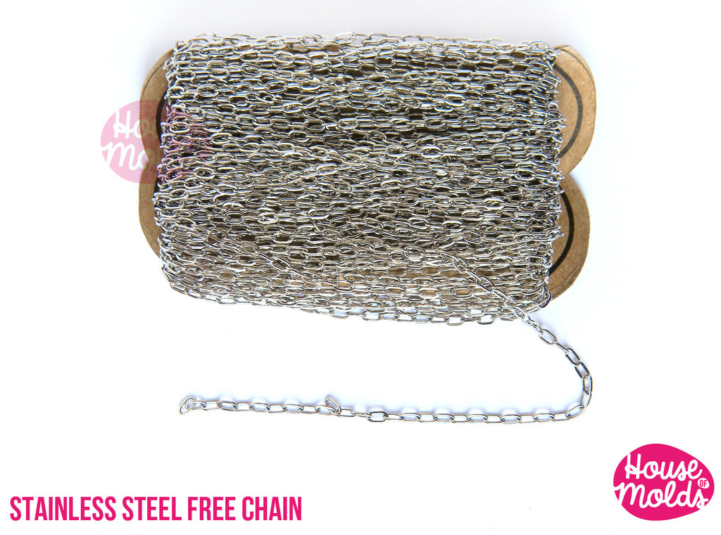 Stainless Steel Free Chain 4 x 2 mm - create your Necklace bracelet dangles earrings and more -houseofmolds