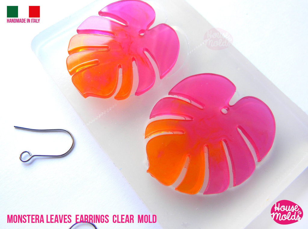 Monstera Leaf earrings Clear Molds , Premade Holes on top , measurements 43 x 36 mm thickness 2 mm  easy and  super shiny - house of molds