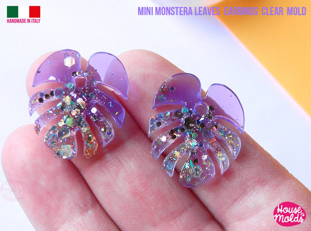 Mini Monstera Leaf earrings Clear Molds , Premade Holes on top , measurements 23 x 22 mm thickness 2 mm  super shiny - house of molds