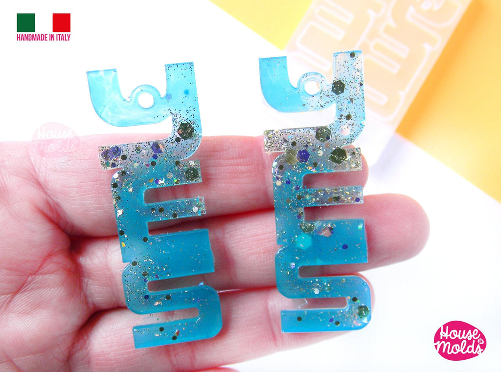 YES 90s earrings Clear Molds , Premade Holes on top , measurements 57 x 21 mm thickness 2 mm , easy and  super shiny - house of molds