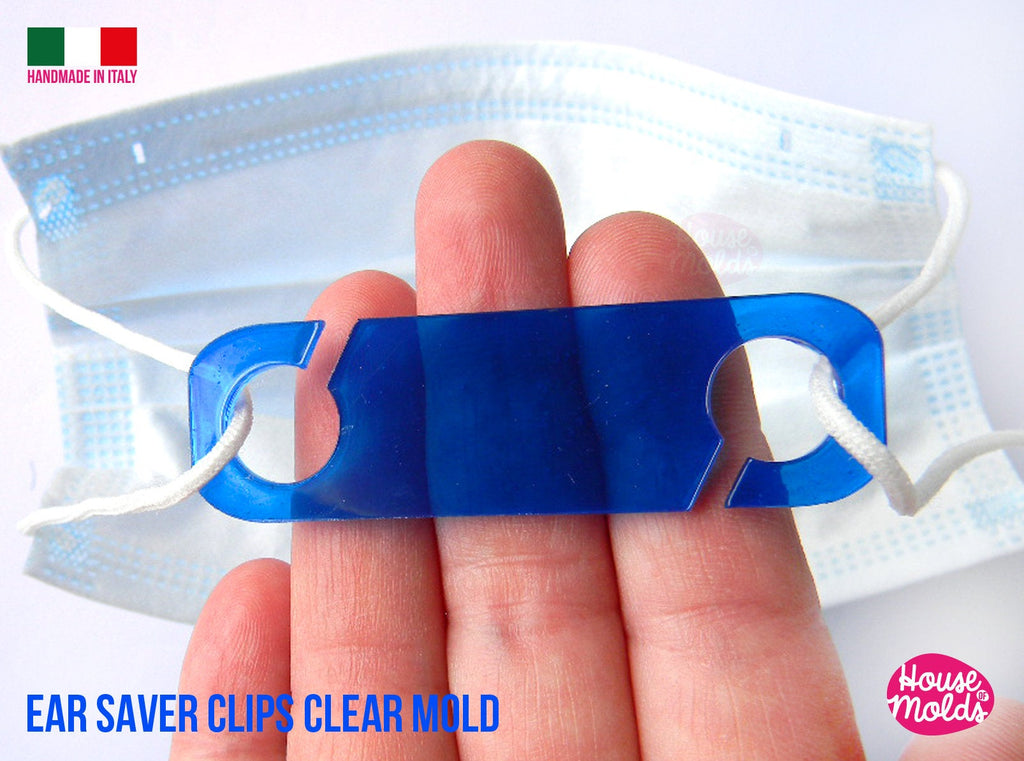 Ear Saver Clips Clear Molds , Rectangle Design 03 - measurements 67 mm x 20 mm -  thickness 2 mm - super shiny - house of molds
