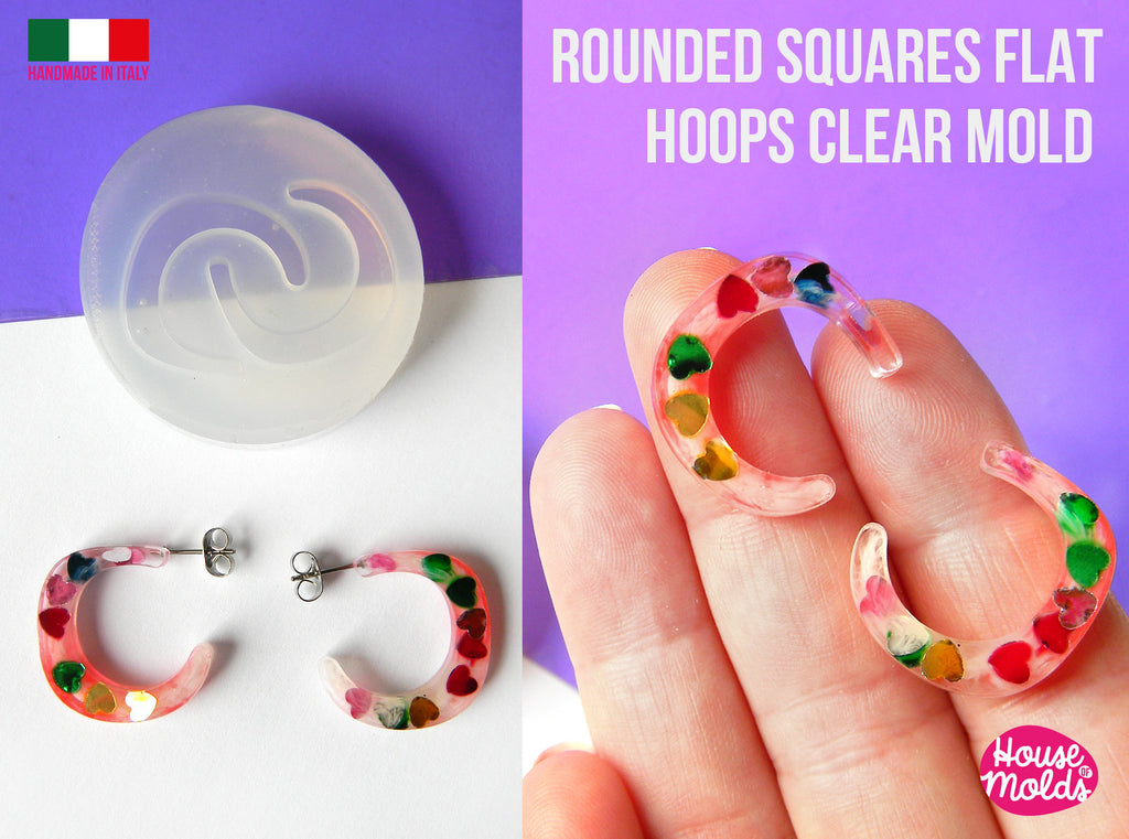 Rounded Squares Flat Earrings Hoops Clear Mold , 23 x 22  mm 4 mm thickness ,  very  easy Transparent Mold ,  super shiny - house of molds