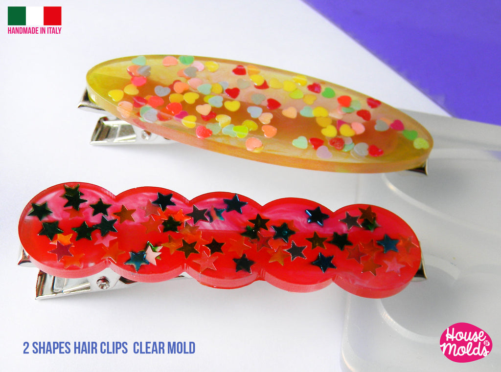 Hair Clips 2 Flat Shapes Clear Mold ,1 scalloped 1 oval  - Transparent Silicone Mold super shiny  House of molds