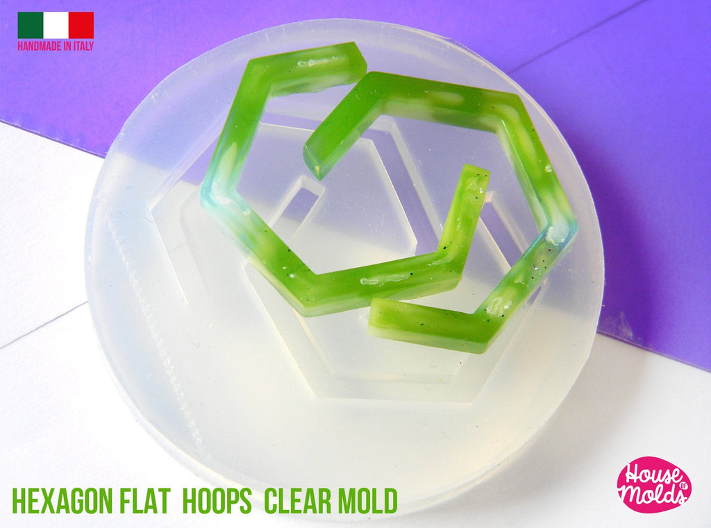 Hexagonal Flat Earrings Hoops Clear Mold , 28 x 30 mm 4 mm thickness ,  very  easy Transparent Mold ,  super shiny - house of molds