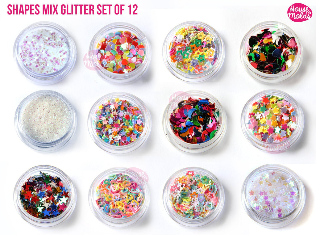 SHAPES Fun MIX GLITTER set of 12 Styles ,hearts ,Stars, flowers, moon, ideal for resin or nail art-Add some Bling to your creations!