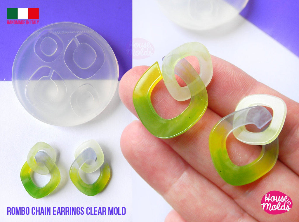 Rombo Chain Earrings 4 cavityes Clear Mold , 2 mm thickness ,  super shiny light weight earrings clear mold  - house of molds