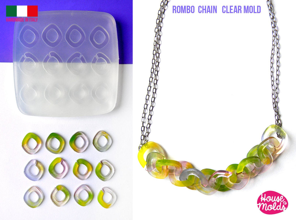 Rombo CHAIN Clear Mold - each chain element is 17x15 mm -great to  make resin collier , bangles , earrings -shiny surface super glossy