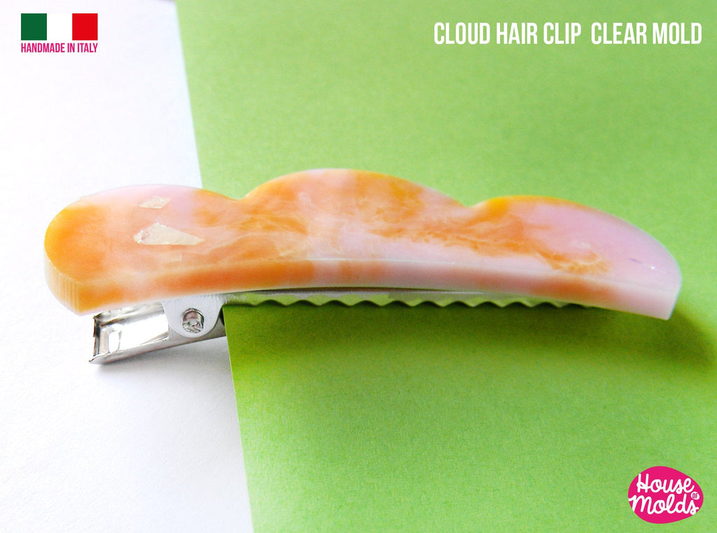 Cloud Hair Clip  Clear Mold ,1 cavity  - Transparent Silicone Mold super shiny  House of molds