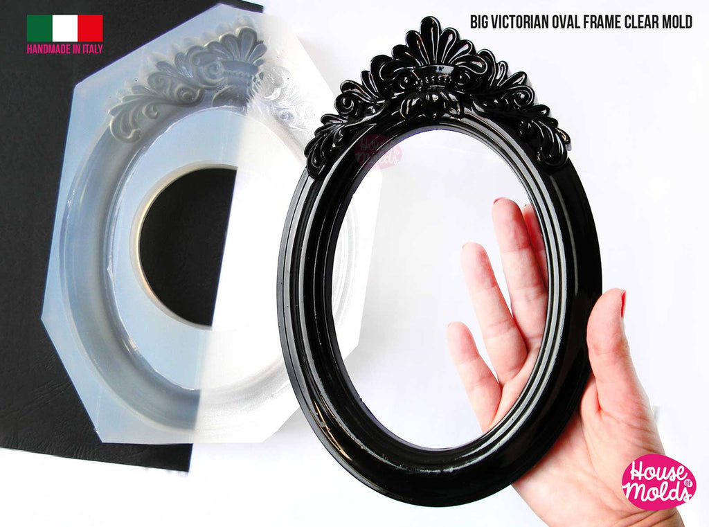 "Big Victorian Oval Photo Frame Clear Mold - make your special custom  mirror/ photo frame -Oval 25 cm x 17 cm  = 9,84"" x 6,70""-super glossy"