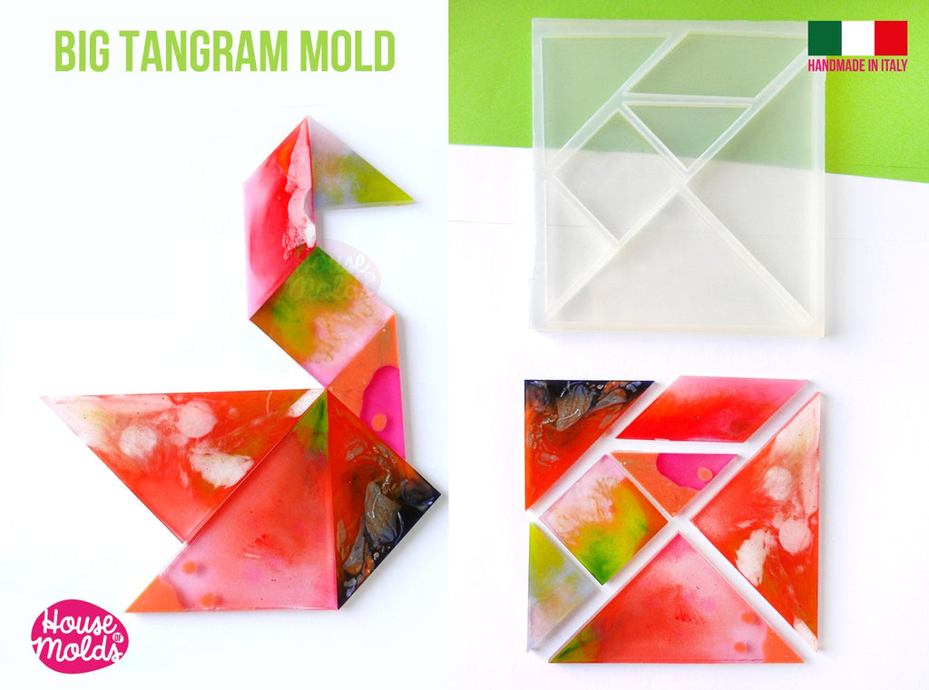 Big Tangram Puzzle Clear Silicone Mold  - ideal to make kids games or table decorations, wall art and more  -14x 14 cm made in Italy