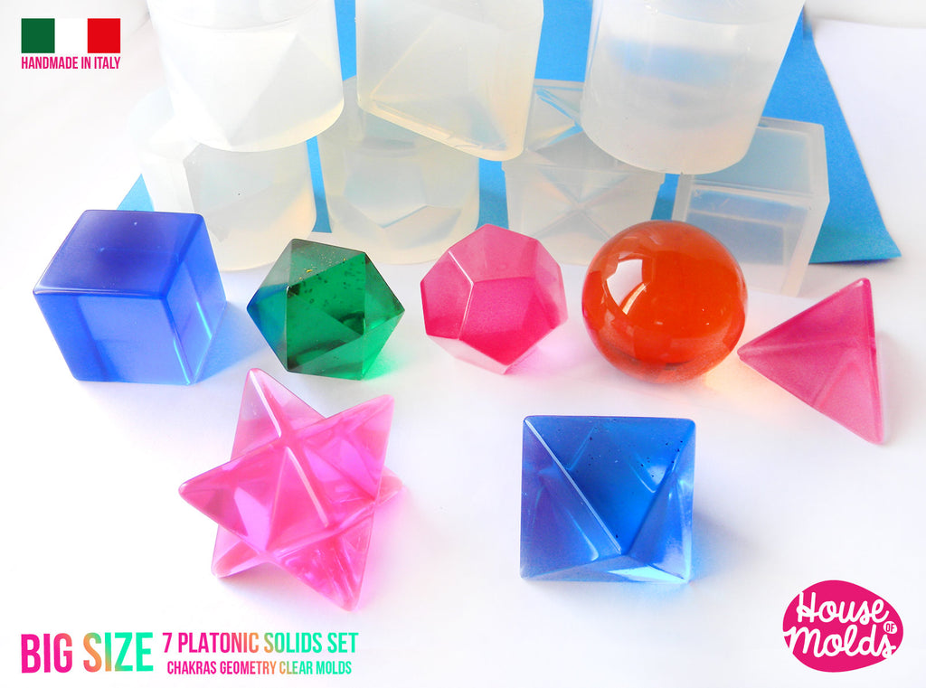 Big Size 7 Platonic Solids Set Of  7 Clear Silicone Molds - HOUSE OF MOLDS-7 Chakra geometry set of 7  molds for resin,super shiny surface