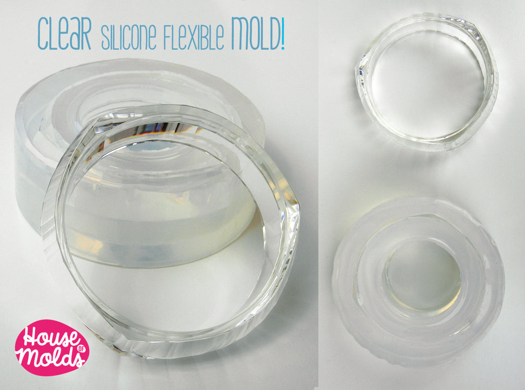 Modern Faceted Bangle Mold ,Clear Rubber mold,mold to make faceted bangle diameter 6,8 cm- 2,5 cm tall