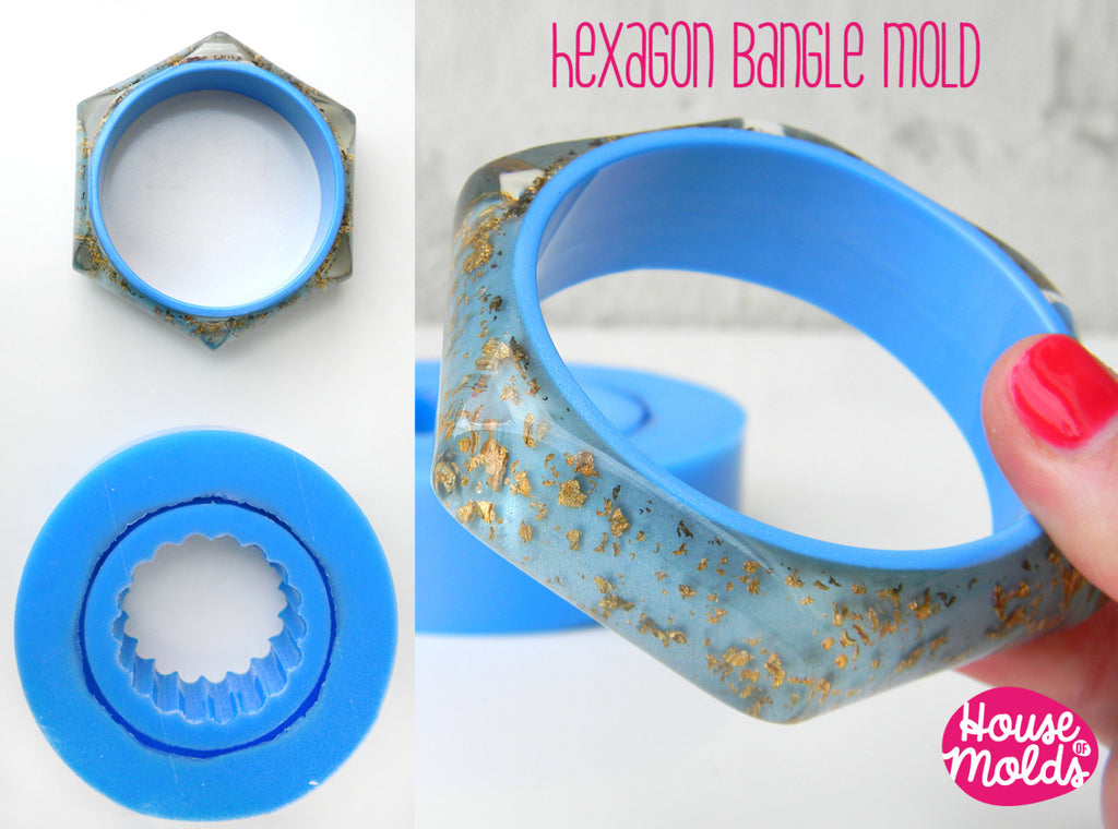 Hexagon Smooth  Faceted bangle Mold, flexible silicone mold for resin,inner diameter 65 mm -23 mm tall