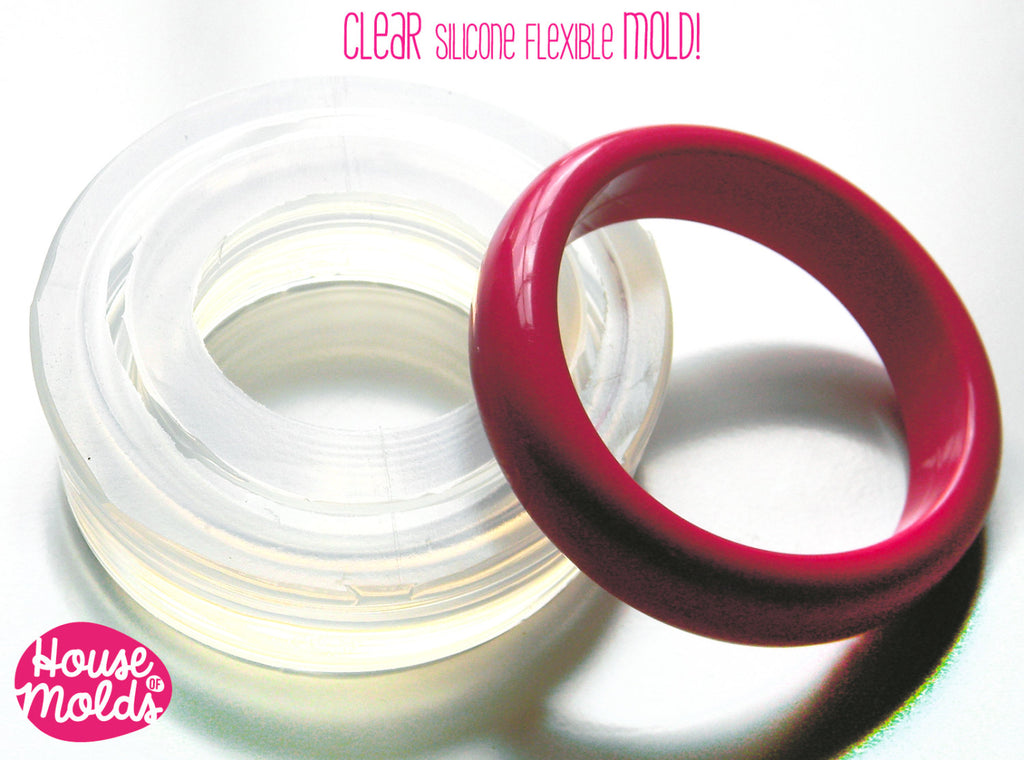 Oval Bangle Clear Rubber mold,68 mm diameter bangle mold,glossy resin casting