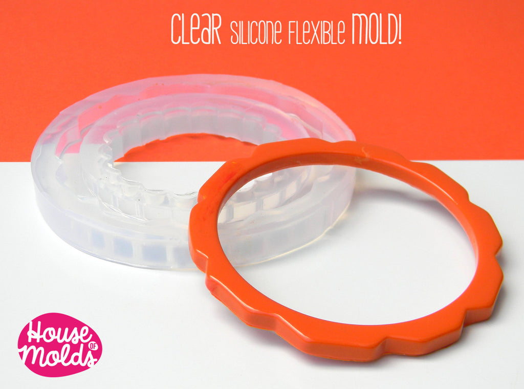 Flower Shaped Thin Bangle Clear Mold,6,4 cm inner diameter resin bangle mold-mold to make stacking  bangles