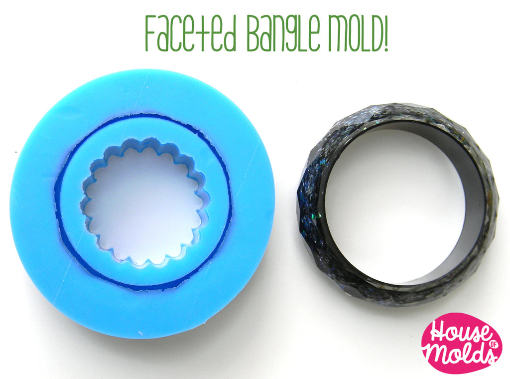 Classic Bold Faceted bangle Mold, flexible silicone mold for resin bangles-68 mm inner diameter