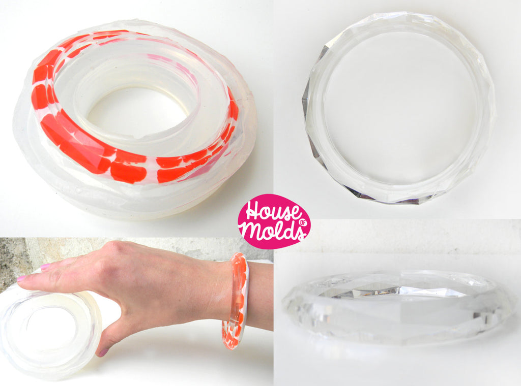 Faceted Plain Thin Bracelet Clear Mold ,Clear Rubber mold,mold to make faceted bangle inner  diameter 6,8 cm x 1 cm tall