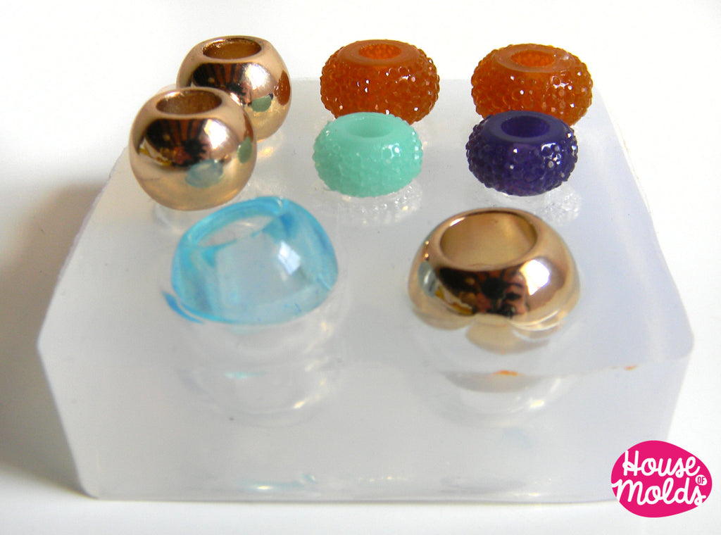 Set of 8 Drilled Bead Clear Mold ,Mold  to make European style  beads-smooth drilled beads and sparkling drilled beads