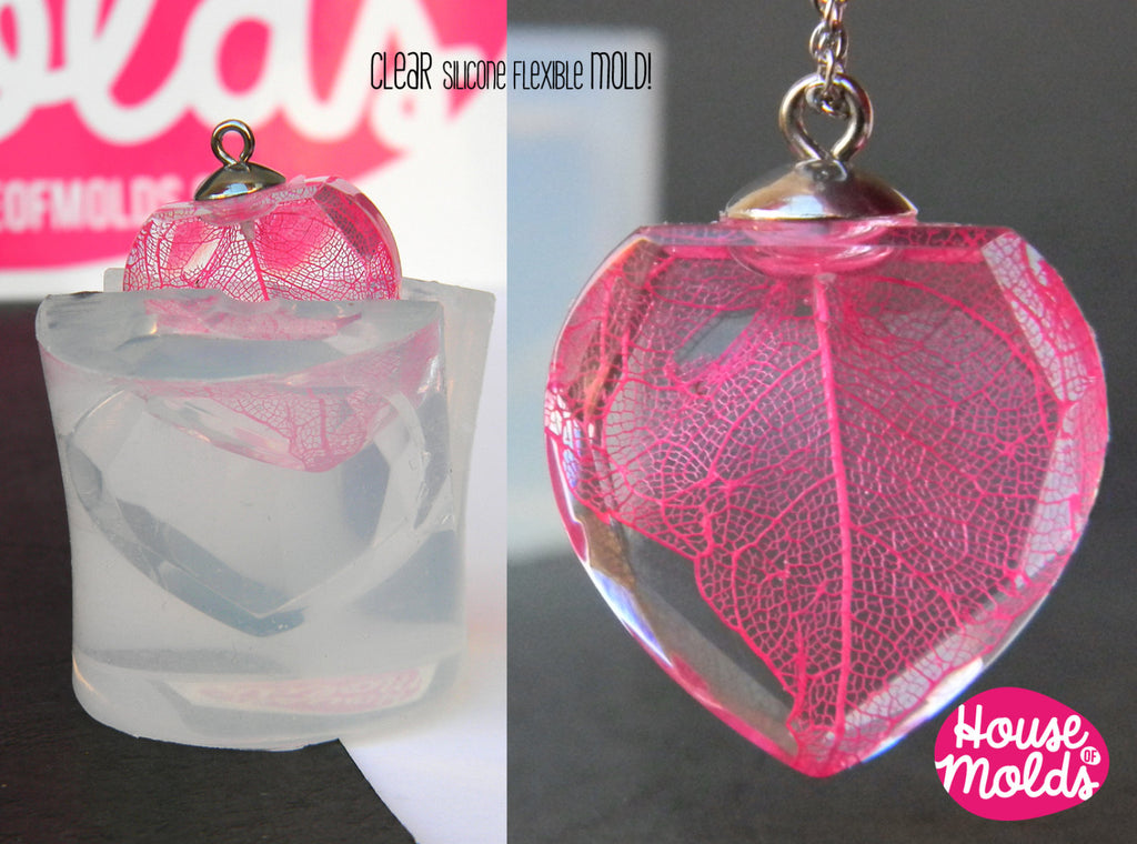 ★READY to SHIP ★Clear Silicone Mold for Faceted Crystal Heart- HOUSE OF MOLDS 3d pendant mold for resin,super shiny surface  23mm x 23 mm x10mm