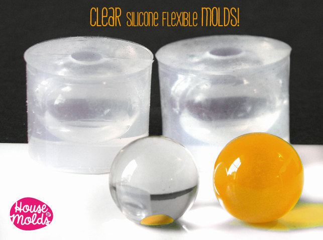 7,5 mm spheres Clear Molds - super shiny - house of molds
