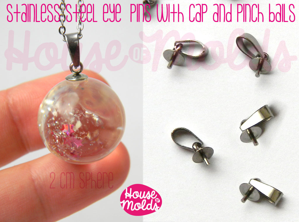 Stainless Steel Tiny Eyepins with Caps and Pinch Bails -5x13 mm-perfect for create your pendants !