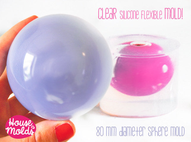 Clear Mold for BIG Sphere 8 cm diameter ,Mold for resin Ball