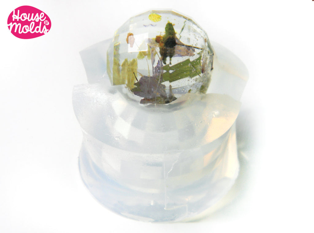 Clear Mold for Faceted Sphere 2,2 cm diameter ,Mold for  faceted resin Ball-House of Molds