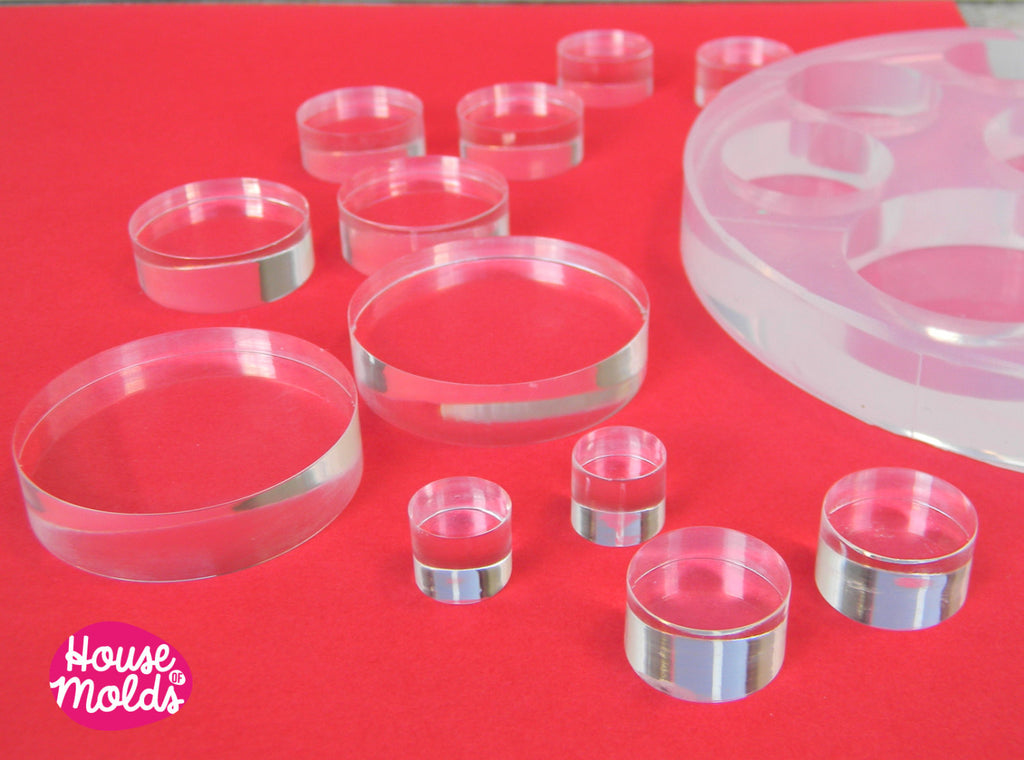 6 Sizes -Multisize Flat Circles Clear  Silicone Mold, transparent Mold with 12 cavityes- perfect for any resin creation