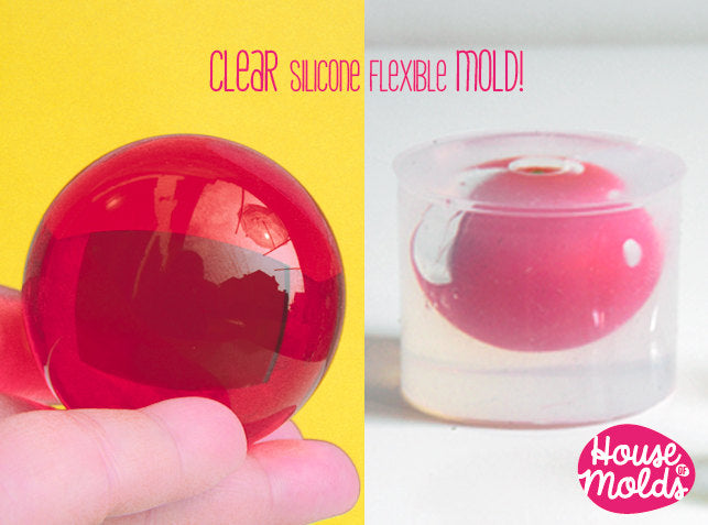 Clear Mold for Sphere 5 cm diameter ,Mold for resin Ball,House Of Molds Super Clear Mold,shiny creations
