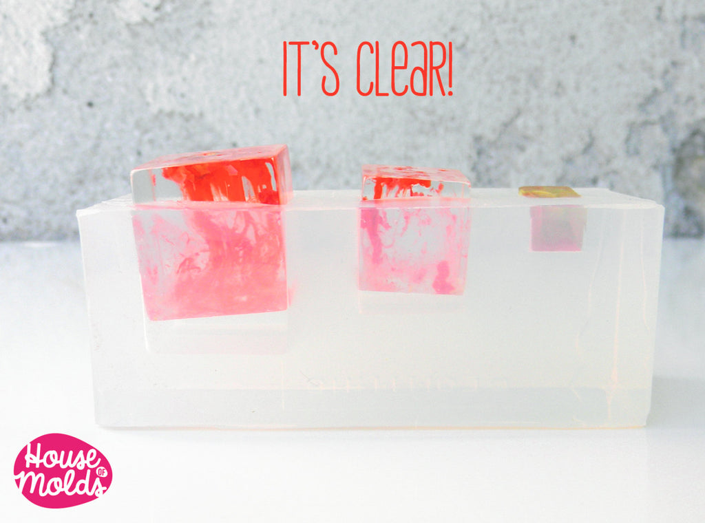 Multi Cubes Clear Mold  ,Mold for  3 size Resin Cubes-HOUSE OF MOLDS-transparent mold for 3 sizes cubes pendants