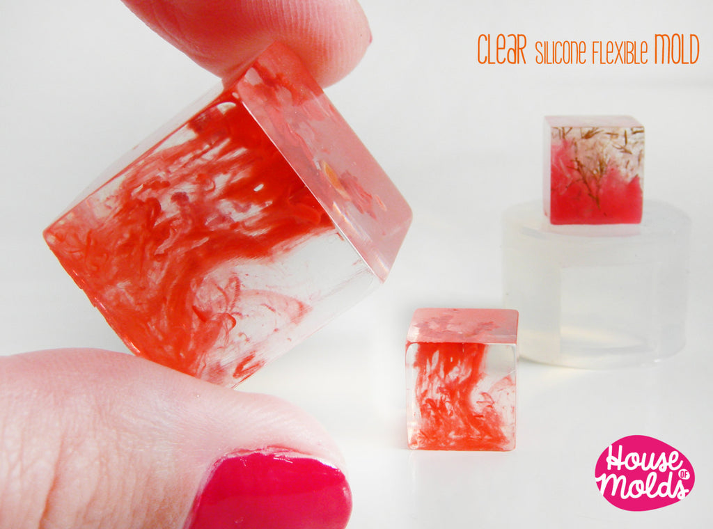 Cube Clear Mold  ,Mold for  2 cm Resin Cube-House Of Molds super clear resin mold