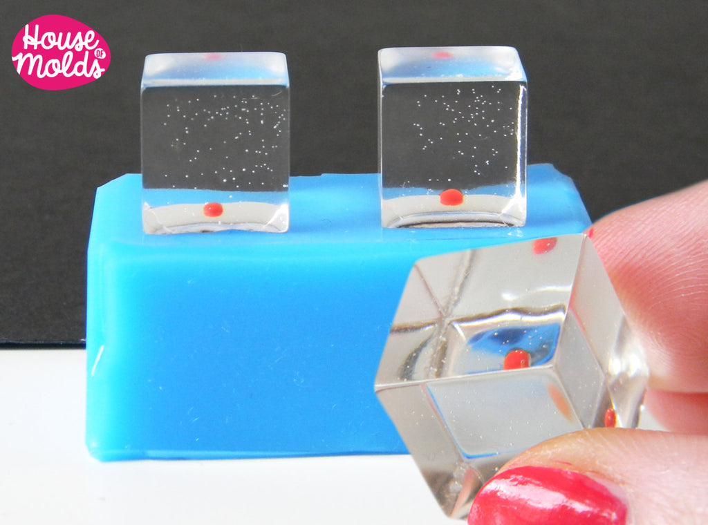 2 Cubes Silicone mold - 15 x 15 mm  - House Of Molds-shiny resin creations