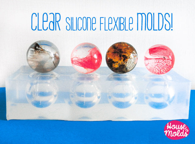 20 , 22, or 25 mm Multi Spheres Clear Mold , 4 cavities - shiny surface transparent mold-House Of Molds