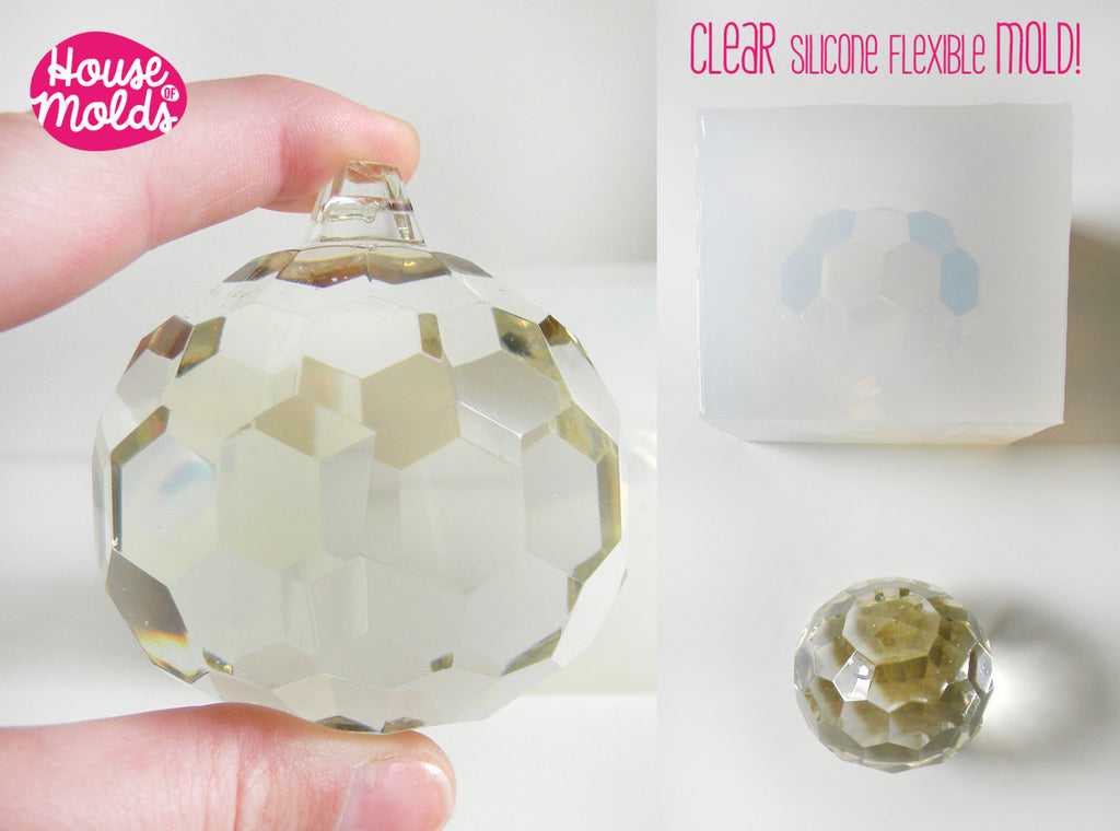 Faceted ball Clear Mold  ,Mold for  3D Christmas Ball card holder, art projects ,wedding decorations ,house of molds