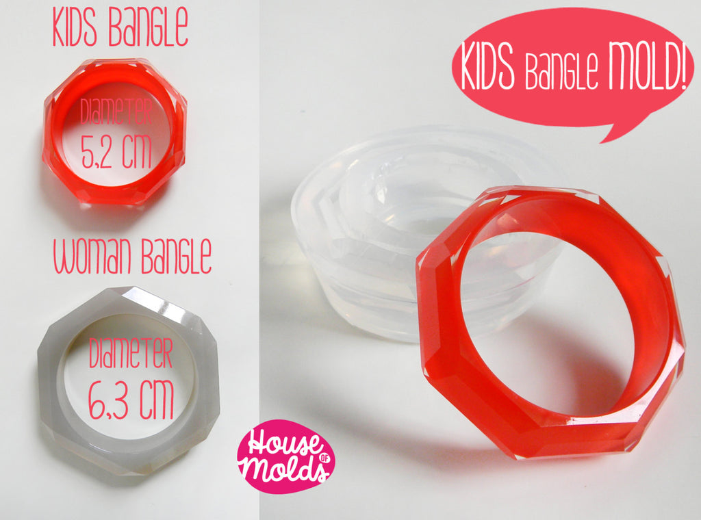 Kids Faceted Bangle Clear Silicone Mold-Mold to create Kids Bangles