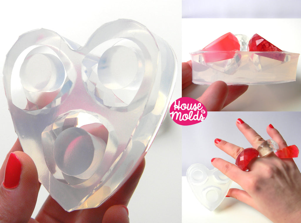 3 sizes Wow Bold faceted Clear Mold, Multi Size  Rings Mold for multifaceted rings-house of molds
