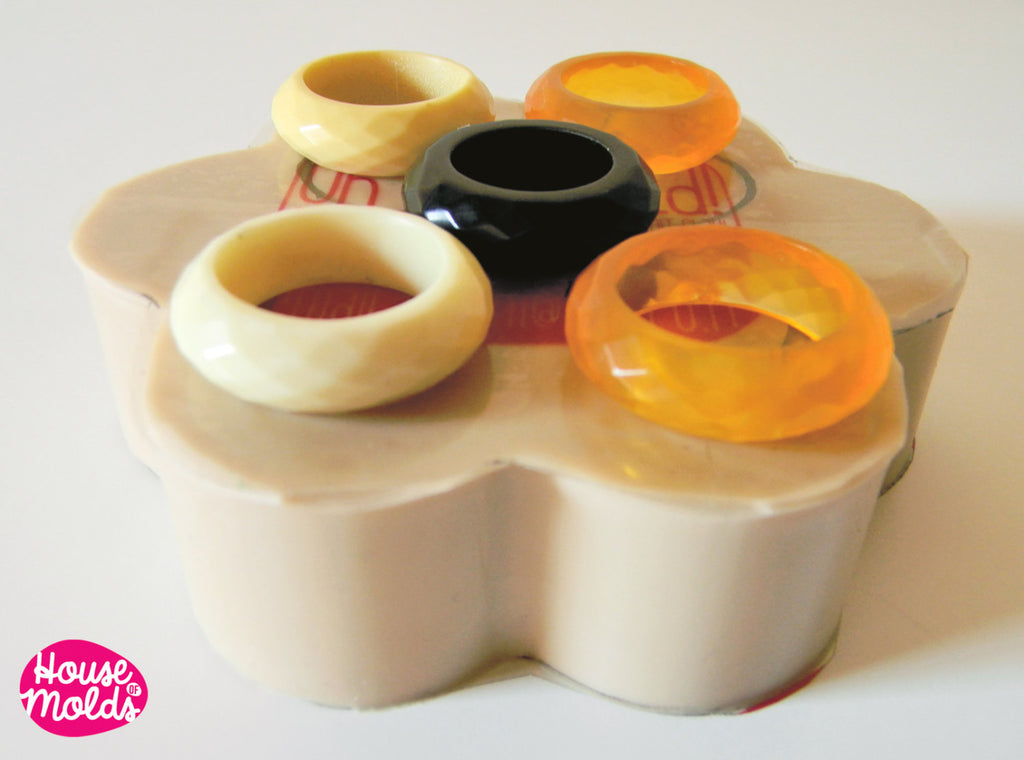 Mold for Multifaceted band Ring 5 SIZES,multi cavities mold to create band rings with facets,super shiny!