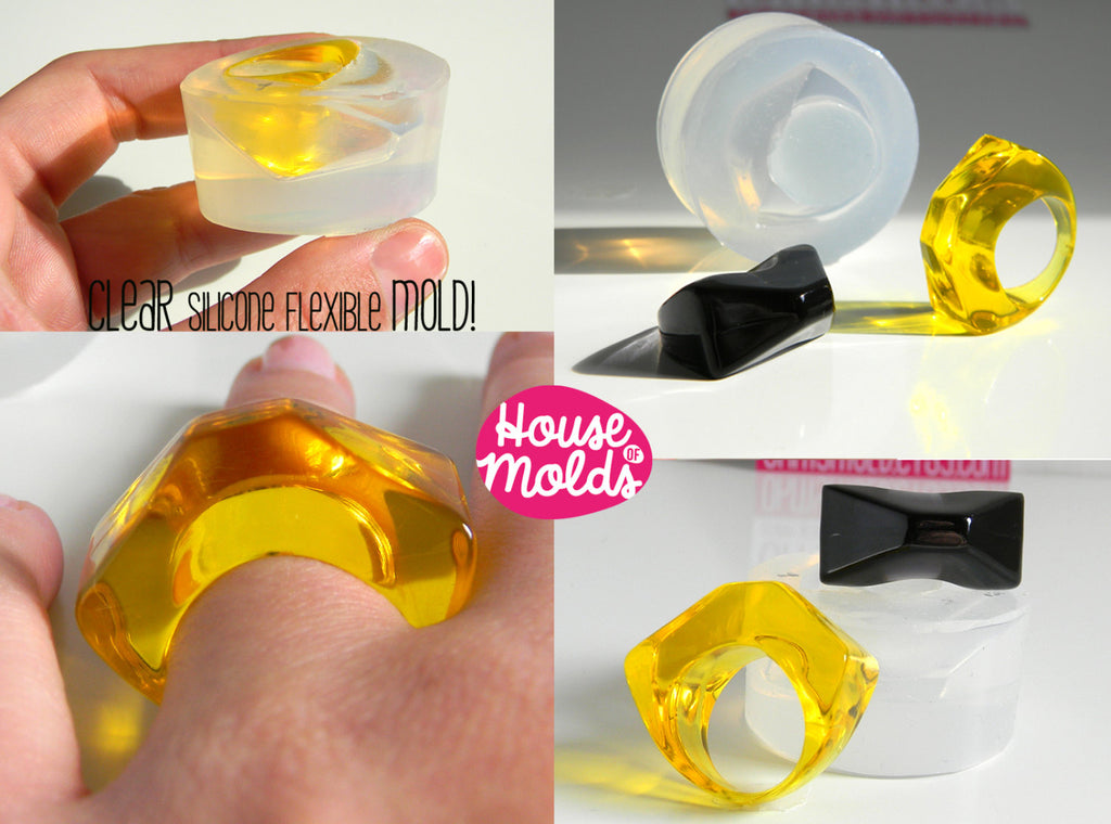 Triangle Ring Clear Silicone Mold, 1 size ring maker mold,perfect to embed flowers gems or little objects