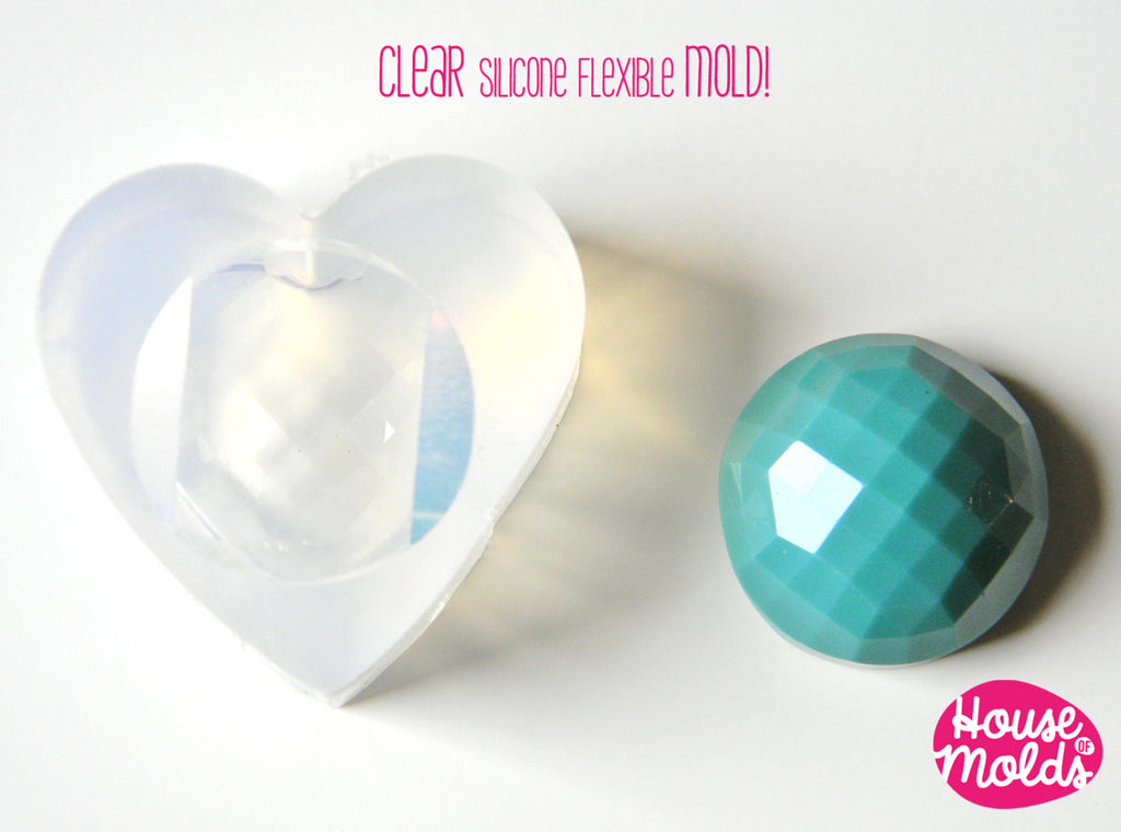Clear Mold for 23 mm Multifaceted Cabochon-great as pendant or ring top-super shiny surface