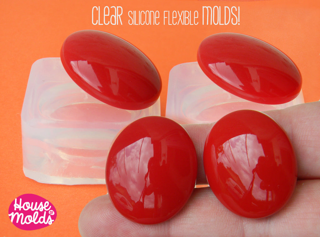2 Smooth Oval Cabochons Clear Mold , 28x24 mm Cabochon Mold 2 cavities ,Mold to make  2 resin Earrings, Ring Top , Oval  Pendants