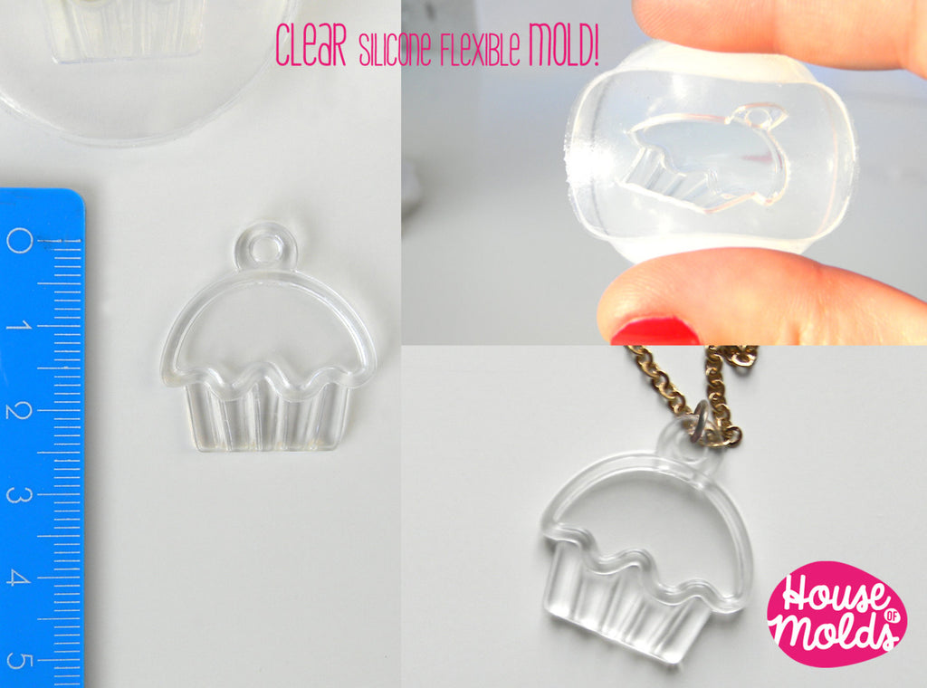 Cupcake Charm Clear Mold - easy to use super glossy- made in italy