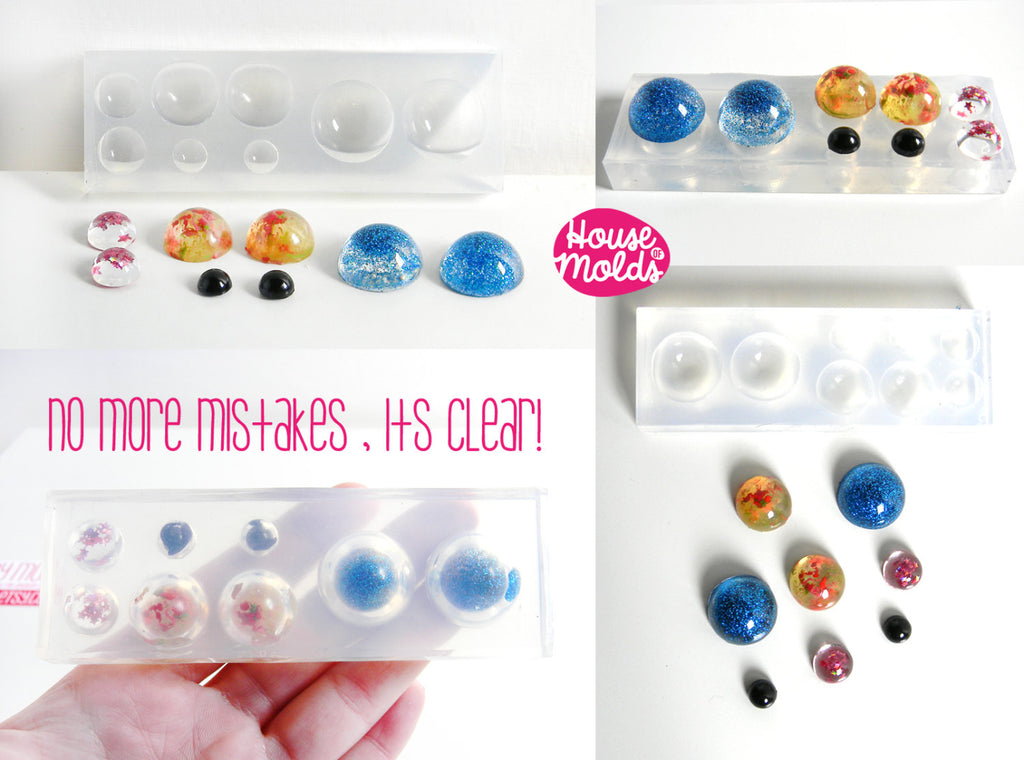 Multisize Cabochons Clear Mold ,4 sizes Cabochons Clear Mold for resin earrings,  necklaces or ring decorations